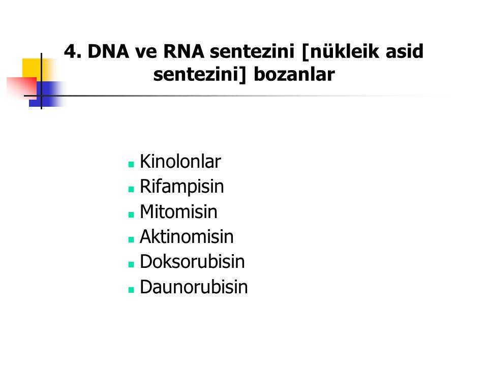 4. DNA ve RNA sentezini [nükleik asid sentezini] bozanlar